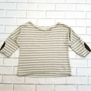 Zara Striped Patched Elbow Crop Blouse